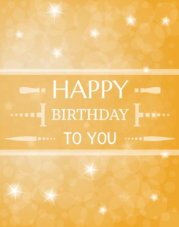 shinning: shinning happy birthday illustration on orange background Illustration