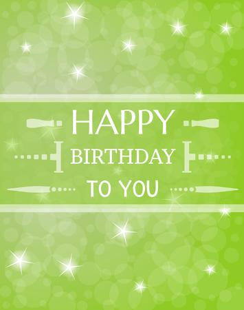 card with wist to happy birthday with shinning stars