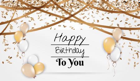 kaart met de wens voor verjaardag met ballonnen, confetti en dalende aanwezig Stock Illustratie