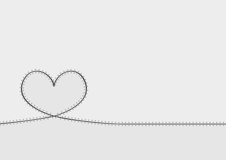 patched: abstract patched heart illustration with gray background