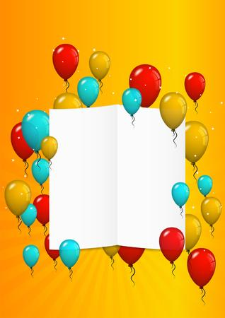felicitate: many flying balloons with empty paper ready for your text on yellow background