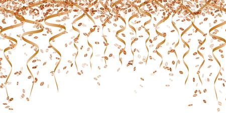 party streamers: orange ribbons and falling confetti on white background