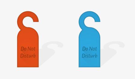 door hanger: red and blue or gray door hanger with text Do Not disturb, vector illustration