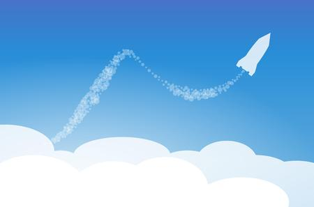 cartoon cloud: silhouette of the rocket in the clouds Illustration