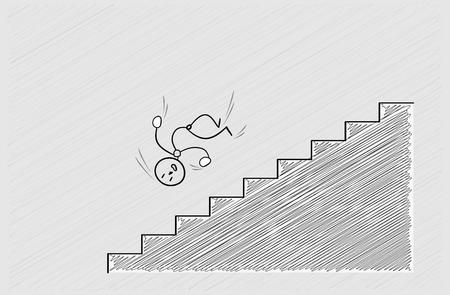 trip hazard: man falling down from stairs, accident, crosshatched image Illustration