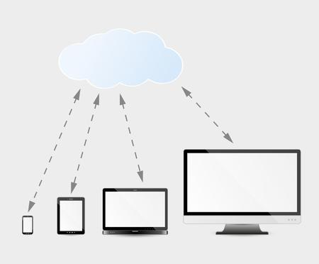 remote backup service: modern multimedia devices and cloud services - computer monitor or television, laptop, tablet and smartphone