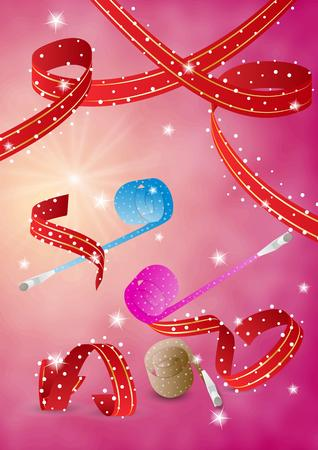 blowers: party blowers and ribbons on red background Illustration