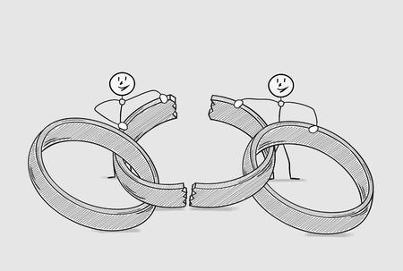 divorce: broken ring as a symbol for end of love and divorce of two people, crosshatched image