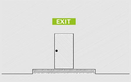 crosshatched: exit text and closed door, crosshatched image Illustration