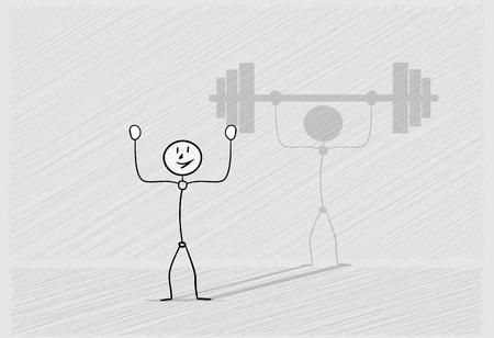 weak: one weak happy man and shadow with large heavy dumbbell as an illusion, crosshatched image