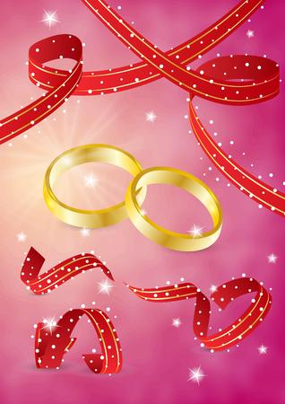 two gold rings and ribbons on red background