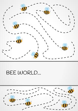flight trajectory of of many bees  on gray gradient background Illustration