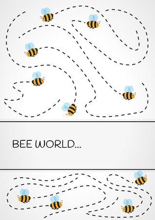Trajectoire de vol de beaucoup d'abeilles sur fond gris fond dégradé Banque d'images - 46852108