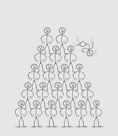 fall down: human pyramid with one falling down man, many strong people standing on the shoulders of the others and one fall down