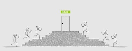 crosshatched: exit closed door and running people, crosshatched image