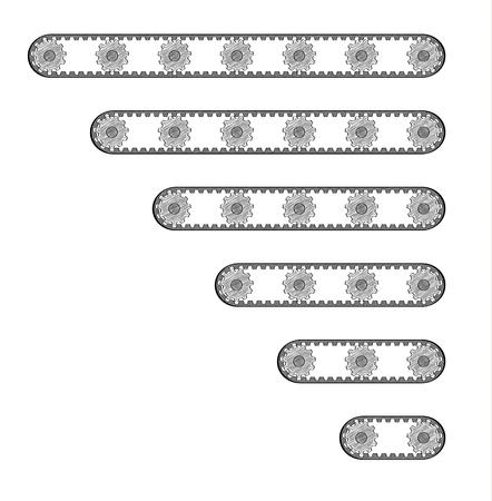assembly line: six conveyor belts with different length with many cogwheels, crosshatched image Illustration