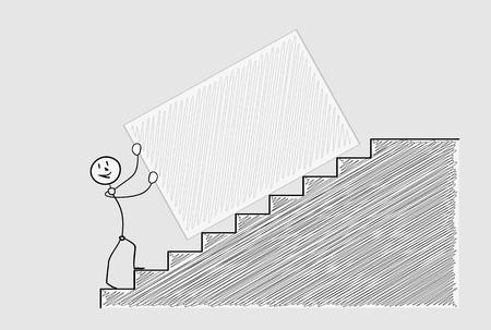 crosshatched: happy man pushing box up the stairs, crosshatched image