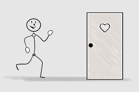 crosshatched: one happy running man and door with heart, latrine door, crosshatched image