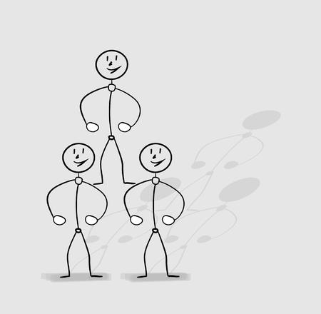 human pyramid: human pyramid, strong people standing on the shoulders of the others Illustration