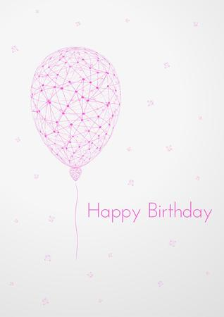 wired: abstract wired balloon and wish for happy birthday on gray gradient background