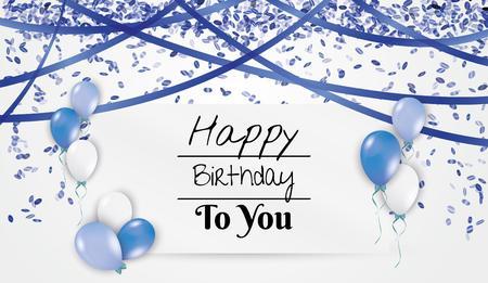 tarjeta con deseos de cumpleaños con globos, confeti que cae y el presente