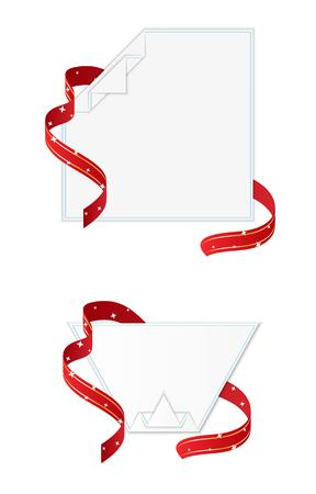 blank papers: two blank papers ready for your invitation text with ribbon Illustration