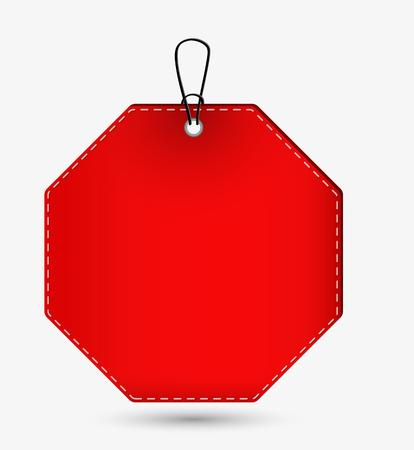 octagon: empty red octagon price tag with shadow on gray background