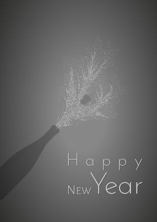 new years background: happy new year and bottle silhouette on gray gradient background Illustration