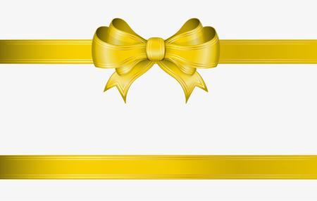 黄色いリボンとゴールドのラインとエレガントな弓
