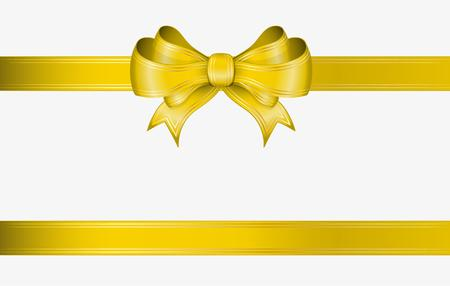 yellow ribbon and elegant bow with gold lines