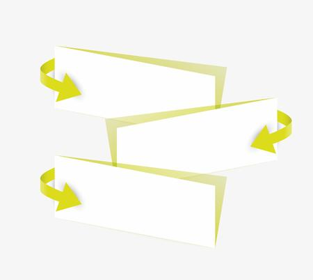blank papers: yellow arrows and blank papers with shadow on gray background Illustration