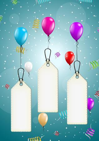 festive background: color flying balloons with empty price tag ready for your text on festive blue background