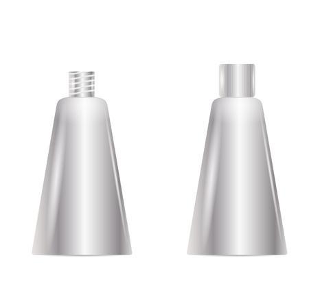 mamadera: abierto y cerrado la botella de plata en blanco limpio, aislado