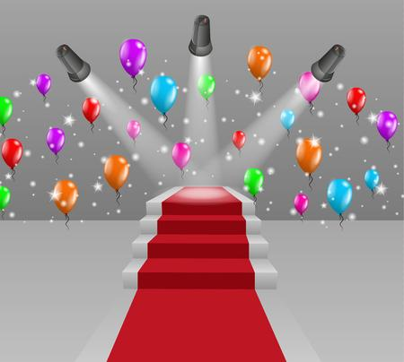 light red: red carpet, three lights and stairs to winning podium