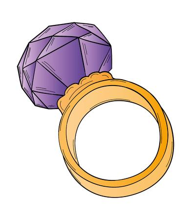 gold ring: gold ring with big violet cut stone Illustration