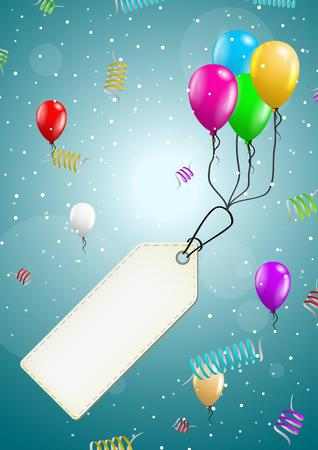 felicitate: color flying balloons with empty price tag ready for your text on festive blue background