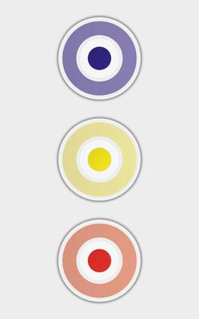 enabled: three badges or buttons with blue, yellow and red color, button have two color circles like a target, vector illustration Illustration