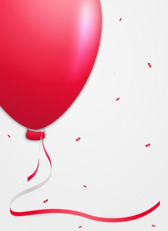 red balloon: one red balloon and falling confetti on gray gradient background