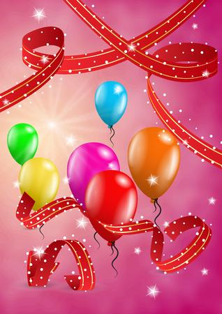 flying balloon: flying balloon and ribbons on festive red background Illustration