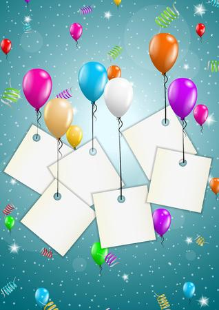 festive background: color flying balloons with empty paper ready for your text on festive blue background