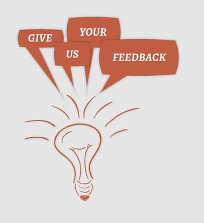 electric power: give us your feedback speech bubbles and bulb on gray background