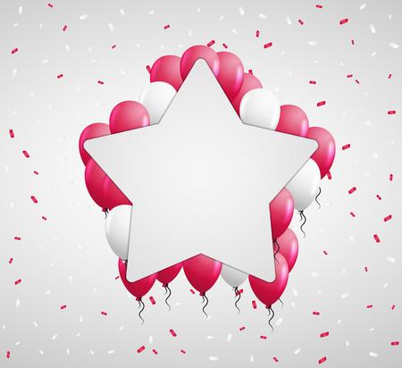 red balloons: blank star badge and red balloons and confetti