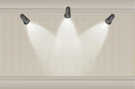 brown: three black lights and brown brick wall
