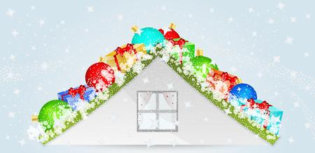 blue roof: roof with christmas balls, presents and snow flakes