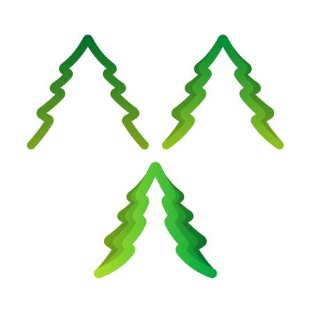 folded paper: three green trees created from folded paper