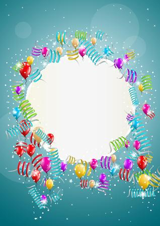 wish of happy holidays: many flying balloons with empty torn paper ready for your text on blue background Illustration