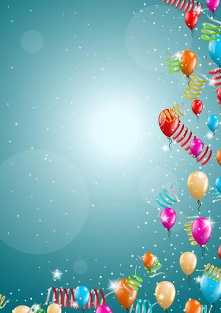 felicitate: flying balloon and confetti on festive blue background