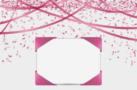 event party festive: blank card with falling confetti and ribbons