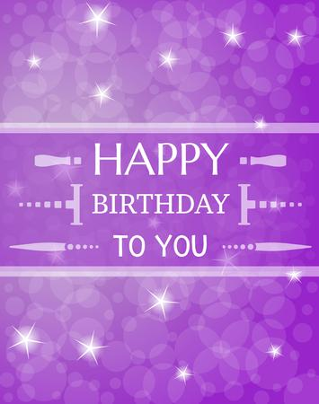 shinning: card with wist to happy birthday with shinning stars