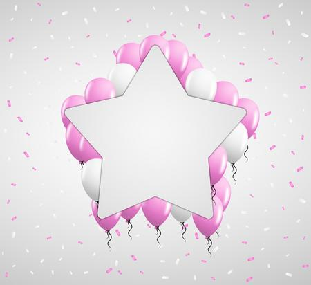 pink balloons: blank star badge and pink balloons and confetti